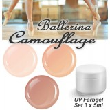 BALLERINA Camouflage Farbgel Set 3x 5ml
